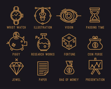 Set of business icons.clock, vector, watch, vision, design, hourglass, piggy, bank, money, chemistry, test tube, icons, set, laboratory, presentation, paper, graphic, diamond, startup Illustration
