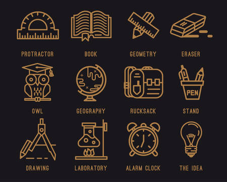 Set of icons for school.Learning and education.Briefcase , Backpack, Knapsack, School, Geography. School supplies, pencil, eraser, pen, compass, clock, globe, book, lamp, tube, owl, line,protractor.