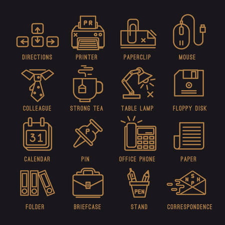 paper case: Set of vector icons. Direction keys, printer, paper clip, mouse, employee, strong tea, coffee, reading lamps, diskette, calendar, pin, phone, office, paper, message, folder, case, stand