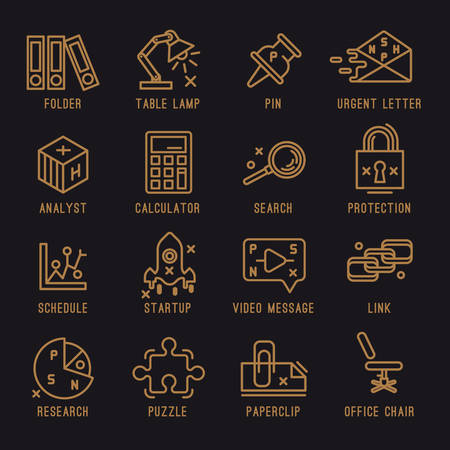 researches: Set of vector icons. Office, startup, internet, web, survey researches, analysis, protection, folders, corespondence, writing, search engine optimization, video message.