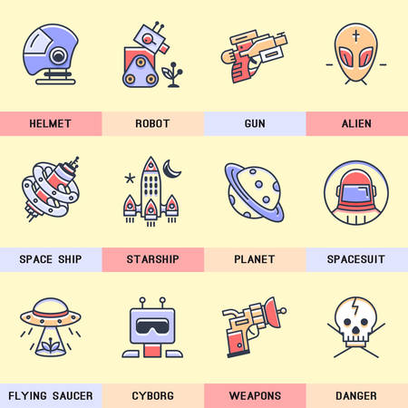 martians: Set of vector icons of fiction into flat style. Illustration