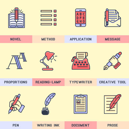 poems: Set of vector icons in flat style.  Illustration