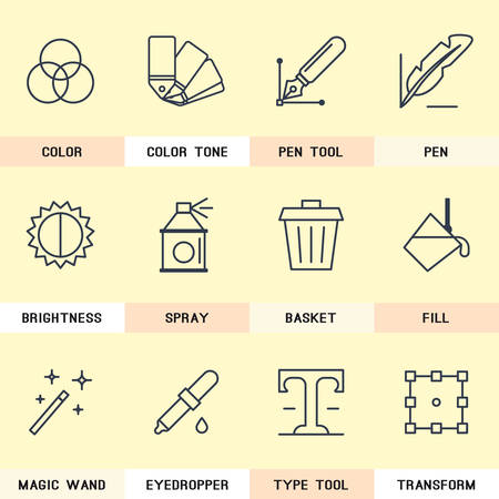 magic book: Graphic Design icons, selection of colors, pen tool, creativity, magic wand, trash removal. the type tool, transformation.