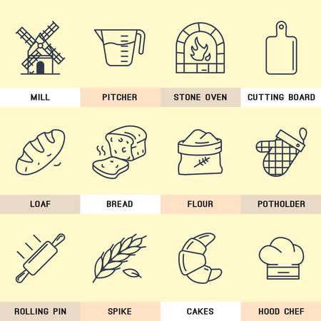 produits c�r�aliers: Ensemble d'ic�nes vectorielles sur les produits de farine, produits naturels, pain, p�tisserie, boulangerie, Planche � d�couper, cuisine, c�r�ales, village, moulin, cuisinier. Illustration