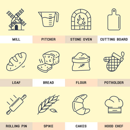 millet: Set of vector icons on flour products, natural products, bread, pastry, bakery, cutting board, kitchen, grain, village, mill, cook. Illustration