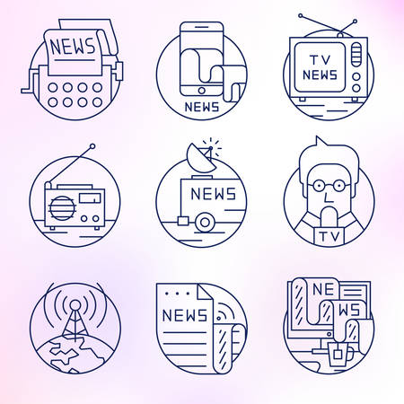 Set round, vector icons.News, television, press, newspapers and magazines, journalism, publications, content, copywriting, text posting. Vector