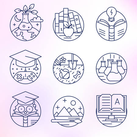 Set of vector icons. Education, reading, literature, archeology, e-book, art, knowledge, mind. Vector