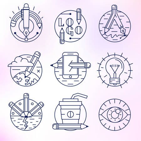draftsman: A set of round vector icons. Pencil, creative process, drawing, creativity, best idea, workspace.