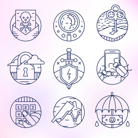extortion: Icons in a linear flat style. Security, attack, threat protection, hacker, hacking, surveillance, spam, extortion, code access, antivirus. Illustration