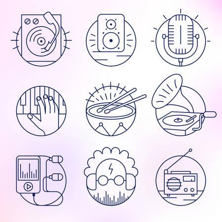 sonic: Set of music icons. Illustration