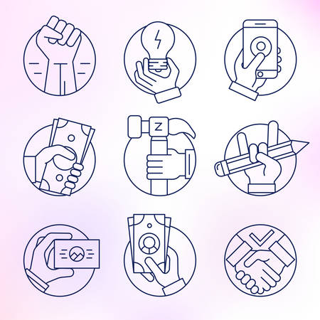cash in hand: Set of vector icons, thin line, round, business and finance, gestures, hands. Illustration