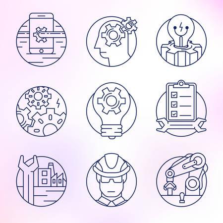 debugging: Set of round icons. Engineering, industry, manufacturing, debugging.