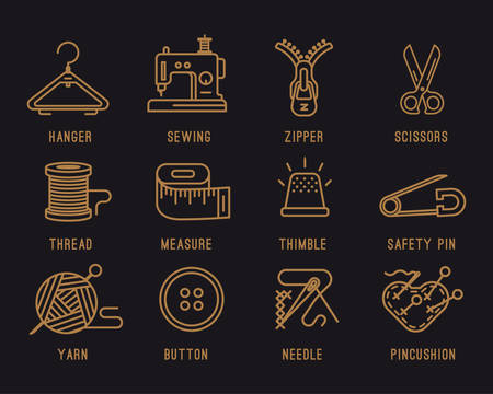 yarn: Set of icons on the sewing theme