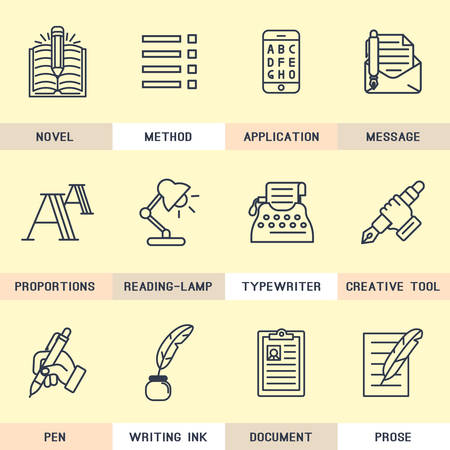 poems: Set of icons in flat style