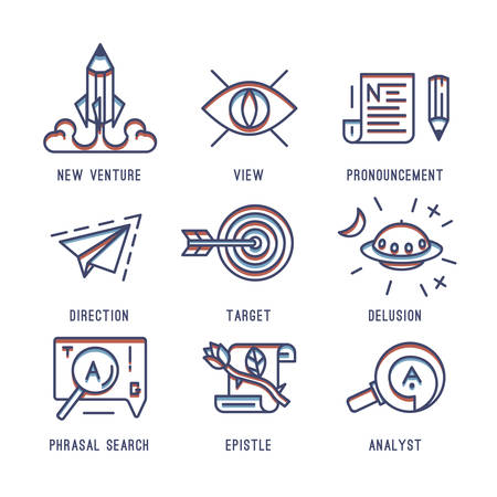 systematization: The set of media icons. Search engine indexing, promotion, start-up, hit the target.