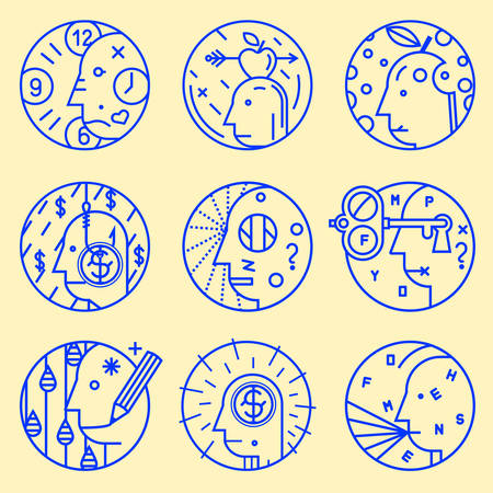linguistics: Set of abstract icons
