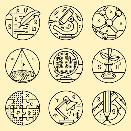 history icon: Set of round icon Illustration