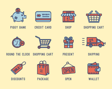 bank cart: Set of icons on a theme shopping. Buying, selling, credit card, cash, purse, delivery, open around the clock.