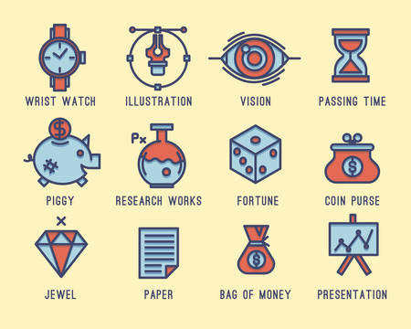 currency glitter: Set of business icons Illustration