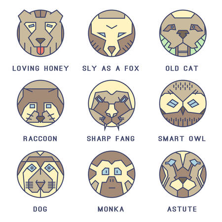 A set of flat icons with animals Vector
