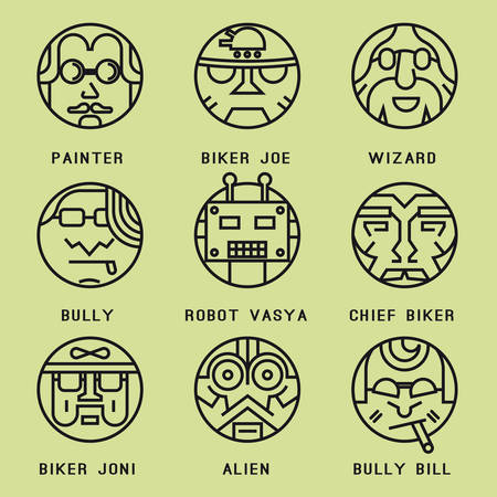 Set of icons with characters