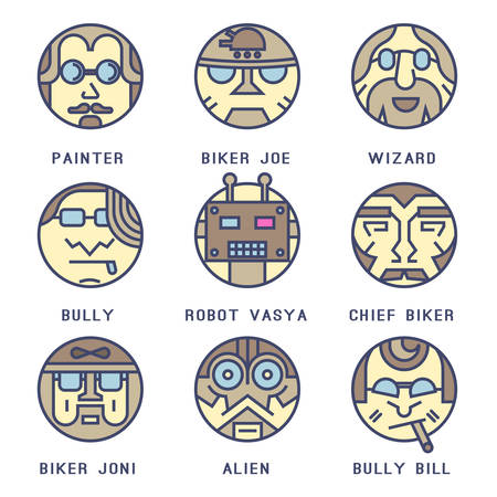Set of icons with characters Vektoros illusztráció