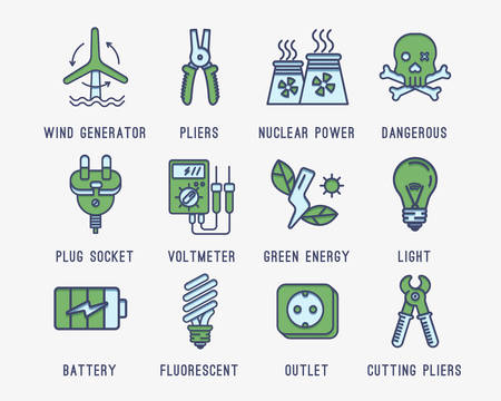 wall socket: Set of icons on the theme of electricity.Wind generator, battery, green energy, lighting, voltage meter, nuclear power plant, wall socket, plug. Caution high voltage.