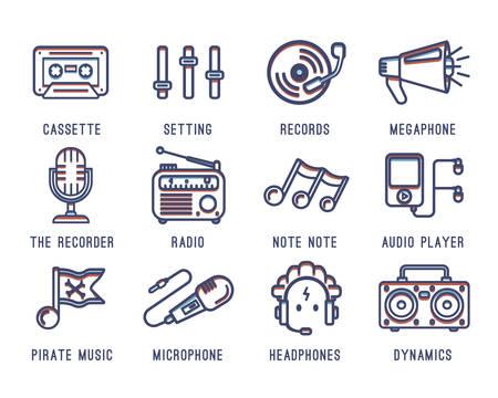 Conjunto de iconos en el tema de la música. Radio, grabadora, casete, sonido, bajo, reproductor de audio, registros, micrófono.