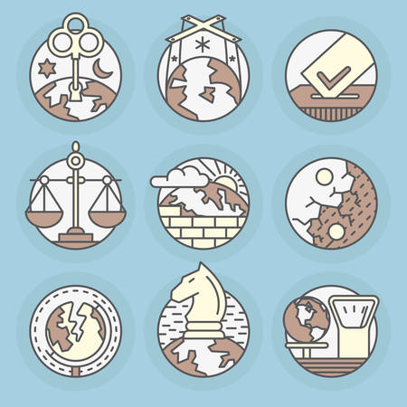 Set round icons of Politics, world order, destabilization, strategy, elections, voting, stability. Ilustrace