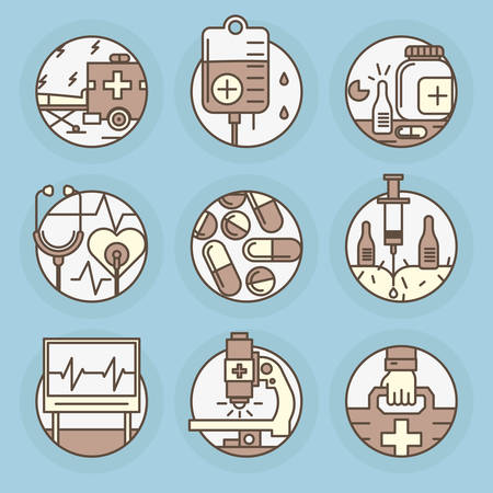 polyclinic: Set round icons of Medicine, remedy, health care, rehabilitation, blood transfusion, cardiac rhythm. Illustration