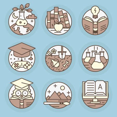 Set icons of Education, reading, literature, archeology, e-book, art, knowledge, mind.