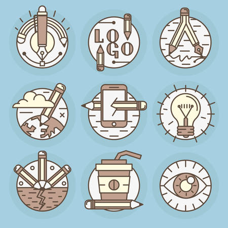 draftsman: A set of round icons. Pencil, creative process, drawing, creativity, best idea, workspace. Illustration