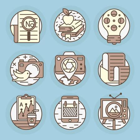 posting: Establecer iconos redondos de noticias, televisi�n, prensa, peri�dicos y revistas, periodismo, publicaciones, contenido, redacci�n, publicaci�n texto.
