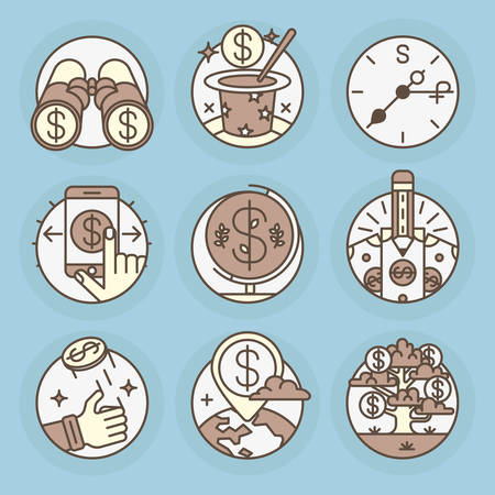forger: Set round icons of Finance, economy, money, coins, bank, investments, deposits, cash.