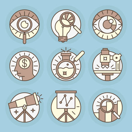 Set round icons of Research, magnifier, search, analysis.