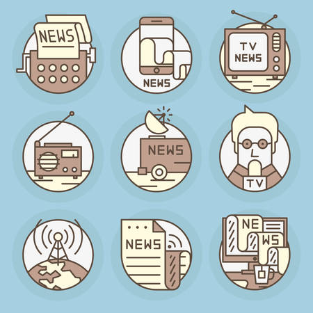 journalism: Set round icons of News, television, press, newspapers and magazines, journalism, publications, content, copywriting, text posting. Illustration