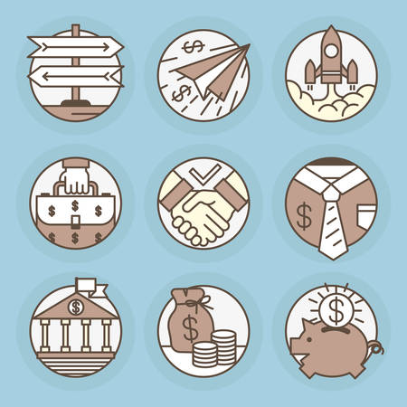pouch: Icons of fine lines. Business and finance, investment, startup, deposits, money.