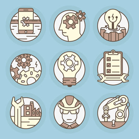 Set of round icons. Engineering, industry, manufacturing, debugging.