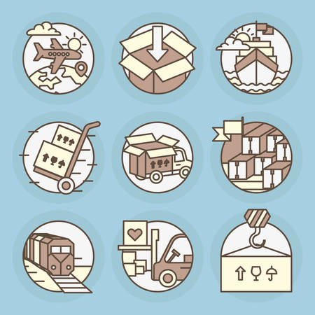Set of round icons. Logistics, shipping, air transport, railways, ports, shipping.