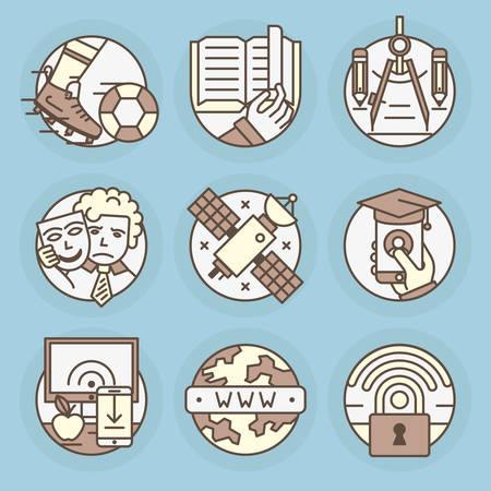 Set of round icons. Learning, reading, sports, drawing, theater, space, online education, the applicant, data transmission, Internet, security, Wi fi signal.