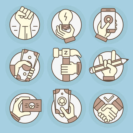 Set icons of thin line, round, business and finance, gestures, hands.