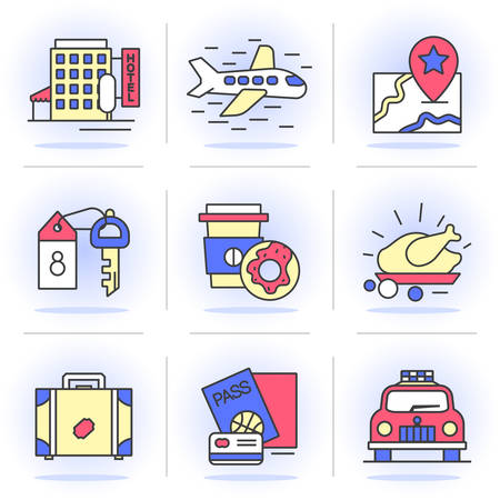 Flat Line Icons Set.  Vacation, book a room, flight, navigation, .Isolated Objects in a Modern Style for Your Design.