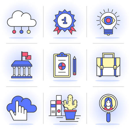 Flat Line Icons Set. Cloud storage, business and finance, the search for employees and customers,Isolated Objects in a Modern Style for Your Design.