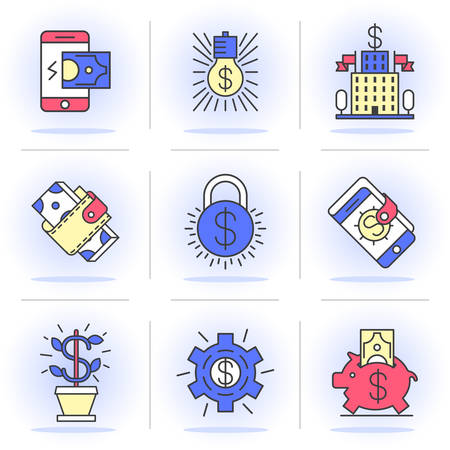 purchasing power: Flat Line Icons Set. Online Shopping, E-Commerce,Buying and Selling, Mobile Payments, Purchasing Power. Isolated Objects in a Modern Style for Your Design.