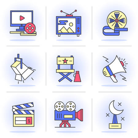 poppers: Flat Line Icons Set.Online Movies, Post Production, Film and Television Collection.Isolated Objects in a Modern Style for Your Design.