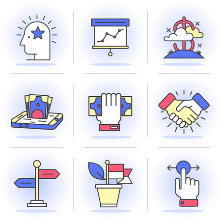 mobile banking: Flat Line Icons Set. Business and Finance,Business Agreements, Mobile Banking, Success.Isolated Objects in a Modern Style for Your Design. Illustration