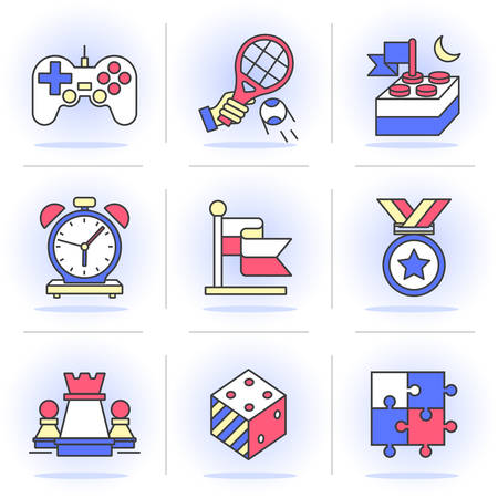 leveling: Flat Line Icons Set. Game achievements and results, Leveling skills. Isolated Objects in a Modern Style for Your Design.