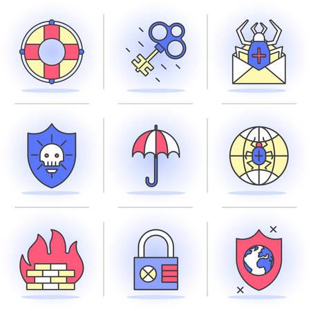 break in: Iconos planos l�nea SET. Protecci�n y Seguridad, Hacking, Amenazas. Aislado en un estilo moderno para su dise�o. Vectores