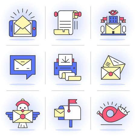 Flat Line Icons Set. E-mail, Post Office, a Communication Method. Isolated Objects in a Modern Style for Your Design.