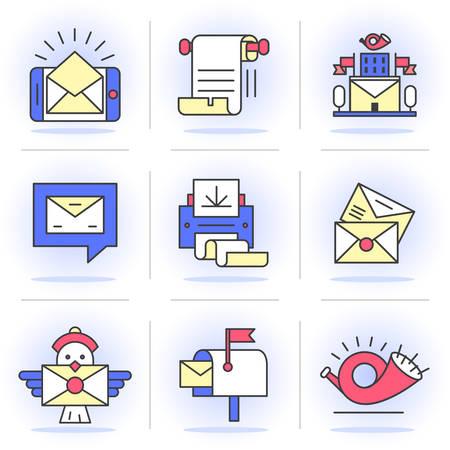 telegrama: Iconos planos l�nea SET. E-mail, la oficina de correos, un m�todo de comunicaci�n. Aislado en un estilo moderno para su dise�o. Vectores